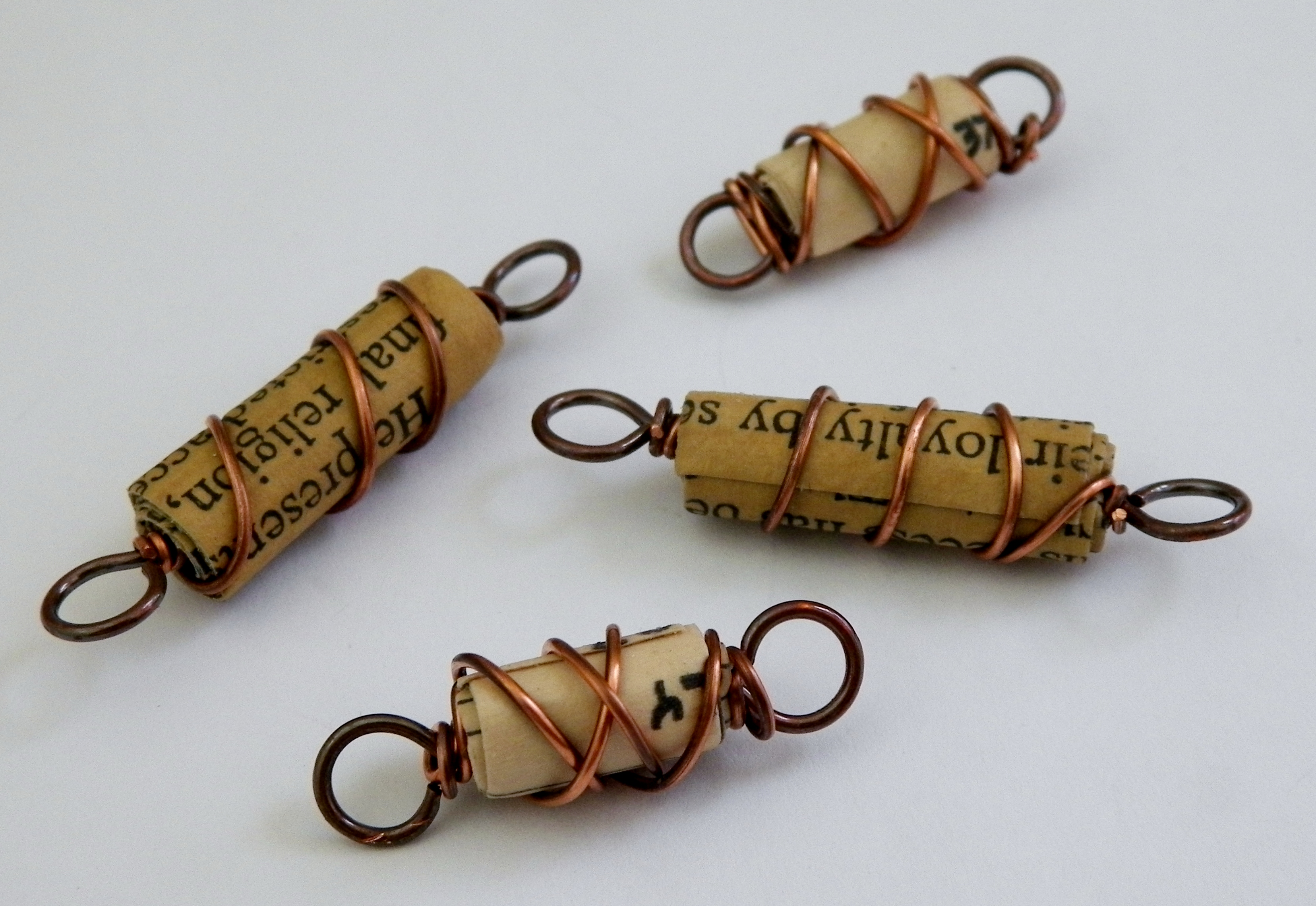 Copper Wire Wrapped Paper Beads