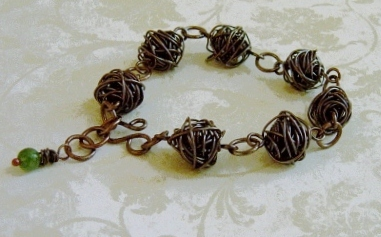 Handmade Copper Wire Beads And Jade Bracelet