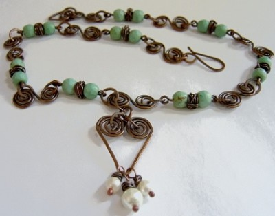 Copper And Howlite Necklace