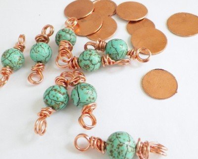 Copper Disk and Wire Wrapped Howlite Gemstones