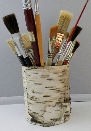 birch bark paint brush holder