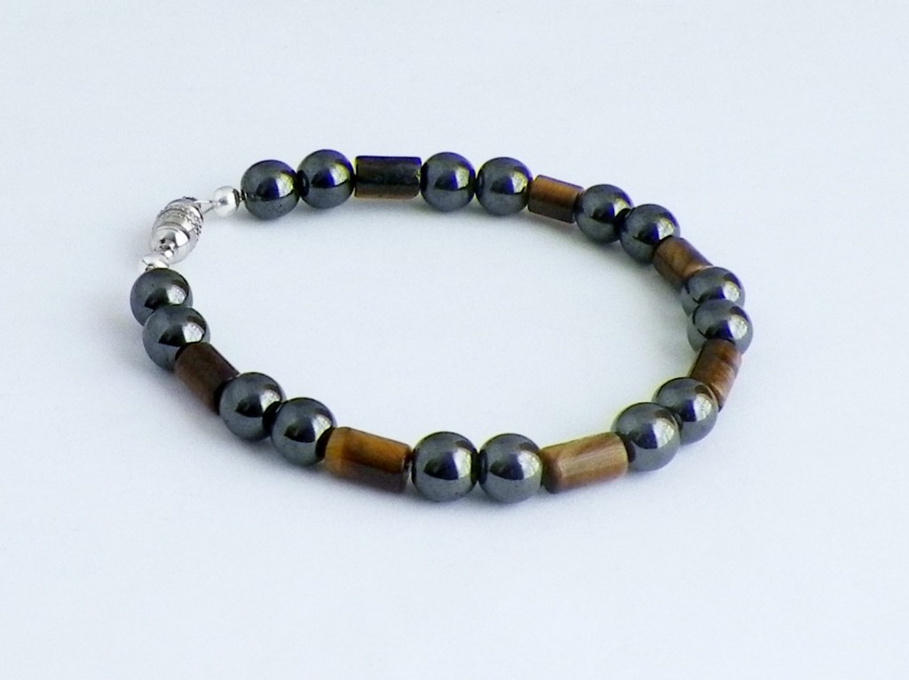 magnetic hematite and tiger eye bracelet