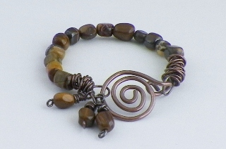 zebra jade and copper bracelet