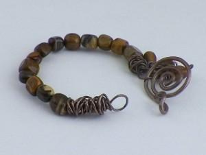 zebra jade and copper bracelet