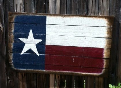 Weathered wood Texas flag