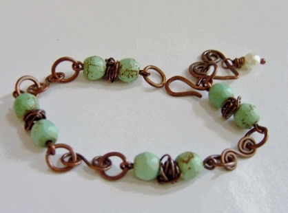Handcrafted copper and magnesite bracelet