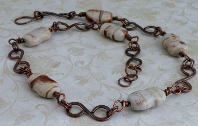 Copper and Porcelain Beaded Necklace
