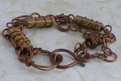 handmade copper and paper bracelet