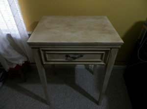 distressed sewing table
