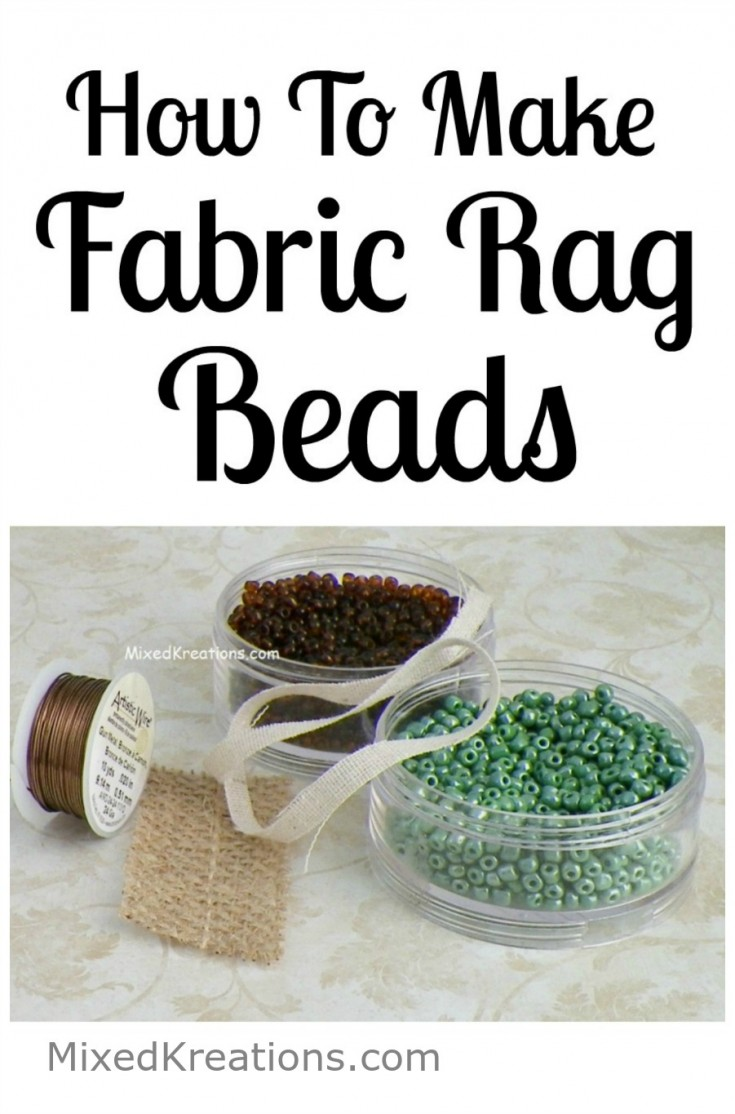How to make fabric rag beads for jewelry making / handmade beads #HandmadeBeads #JewelryMaking #diy MixedKreations.com