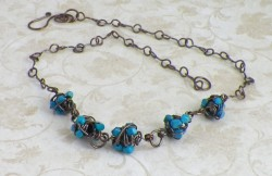Unique turquoise wire wrapped howlite chip necklace