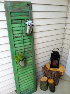 Green Shutter Plant Holder