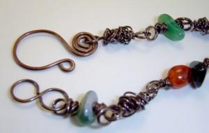 Handmade copper and semi-precious stones necklace