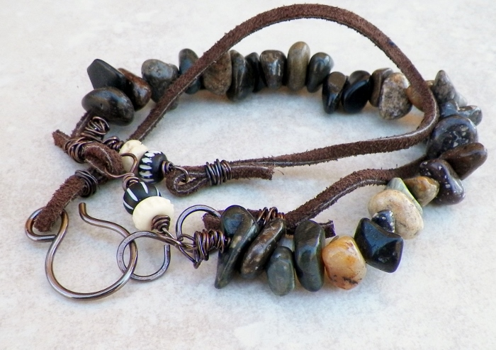 Handcrafted Copper, Leather, and Gemstone Bracelets