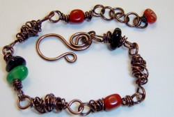 Copper wire wrap and gemstone necklace