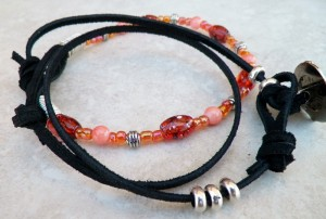 leather and glass beaded bracelet