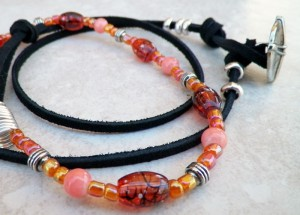 Glass beads and leather cord bracelet