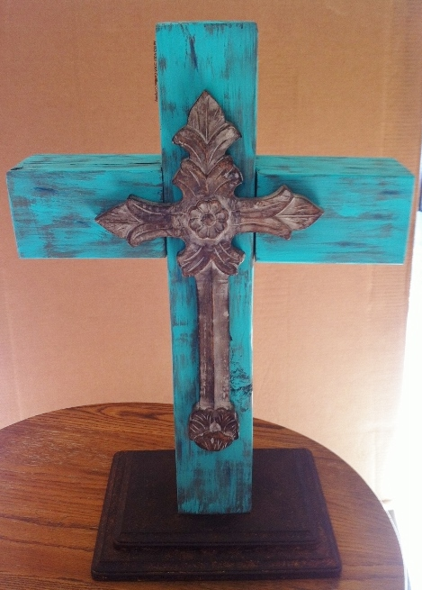 turquoise wood cross