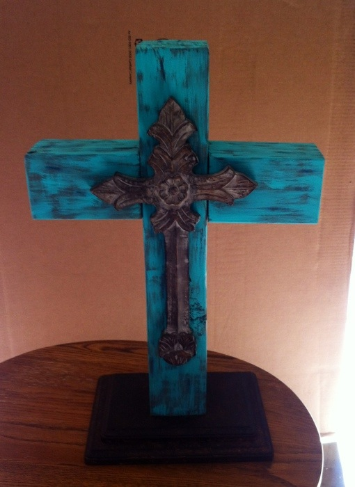 diy turquoise wood cross