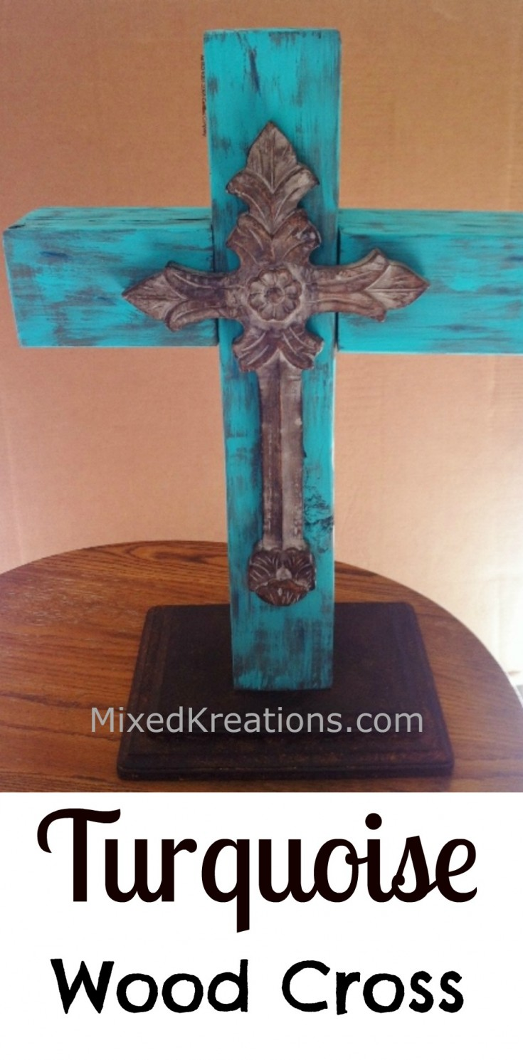 How to make a turquoise wood cross pinnable