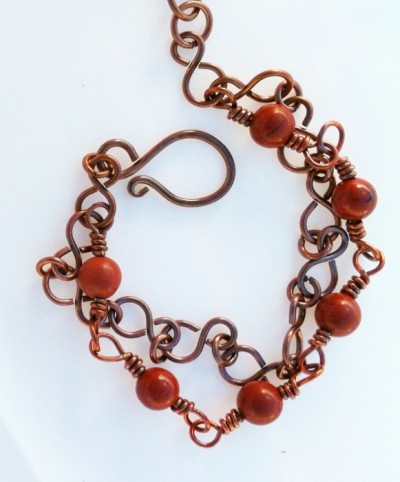 handcrafted double chain copper and jasper bracelet