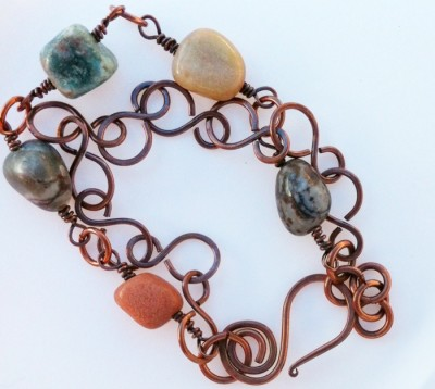 handcrafted copper and river stone bracelet