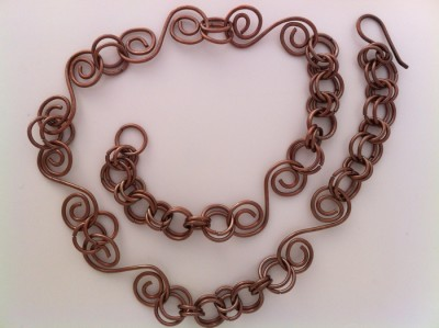 Handmade Copper spiral necklace