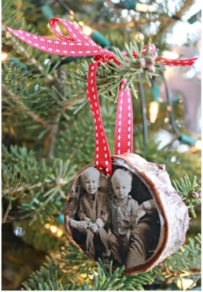 Diy birch photo ornament