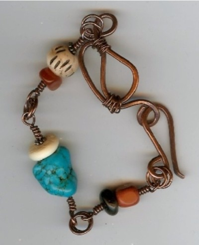 handcrafted copper, howlite, and bone bracelet