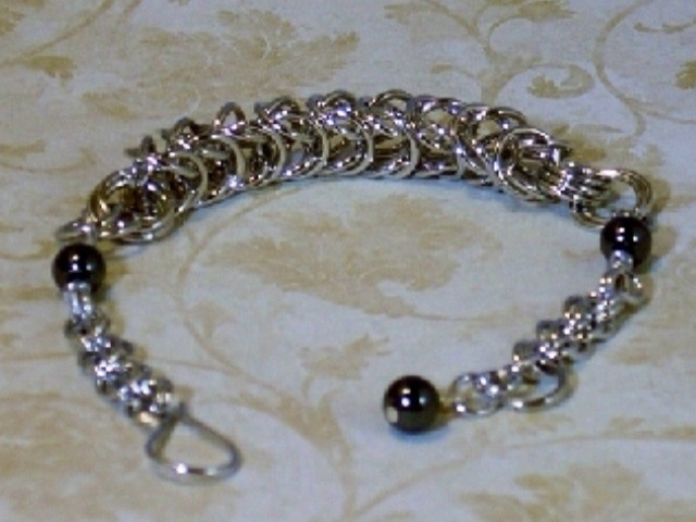 handcrafted aluminum box and double weave chainmaille bracelet