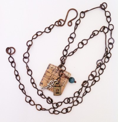 handcrafted music tile pendant necklace