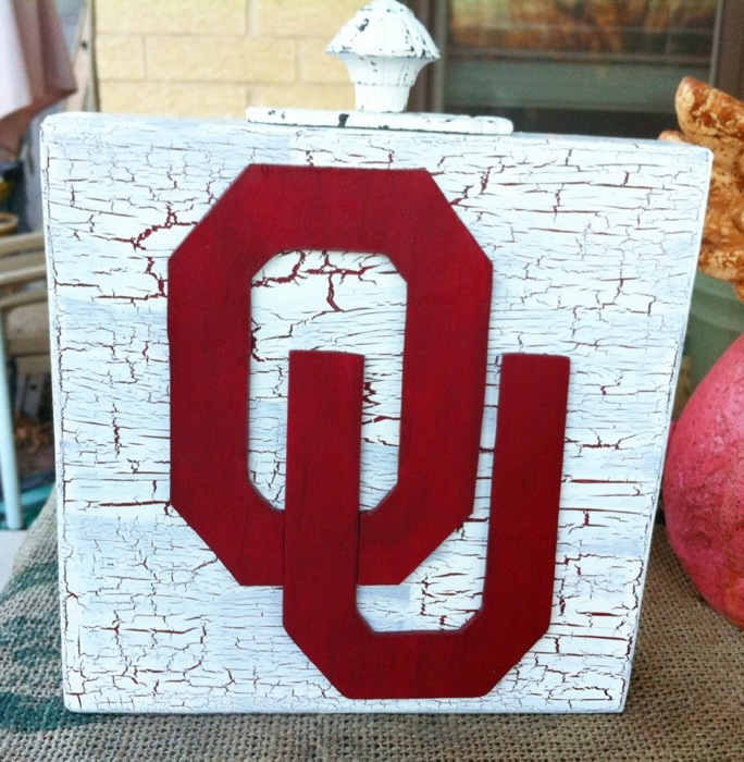 Wooden University of Oklahoma home decor