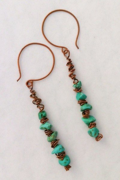 handcrafted copper and turquoise dangle earrings