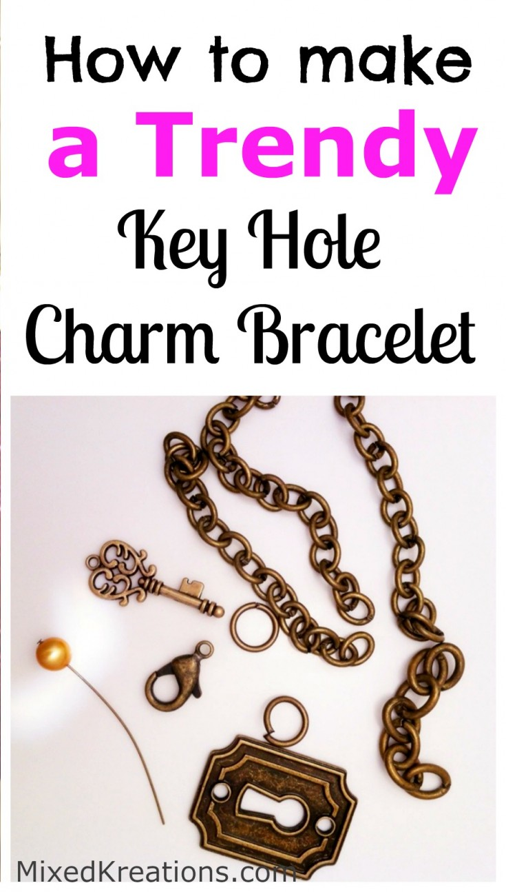 trendy key hole charm bracelet