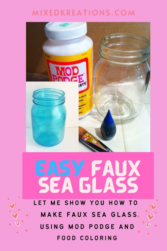 Diy faux sea glass mason jars...Fun project turning glass jars into decorative décor for home... Mixed Kreations
