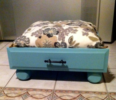 dog bed made from old drawer