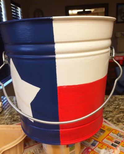 hand-painted Texas Flag bucket