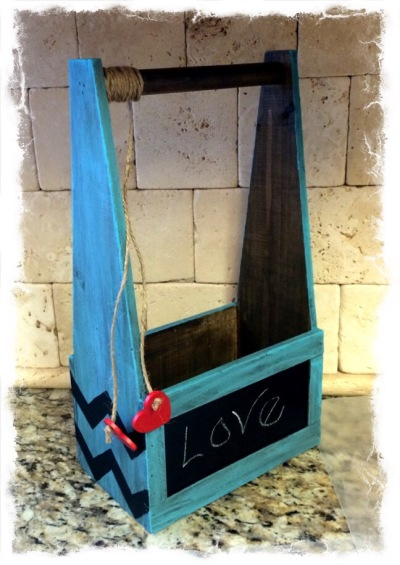 Wood Chevron chalkboard box