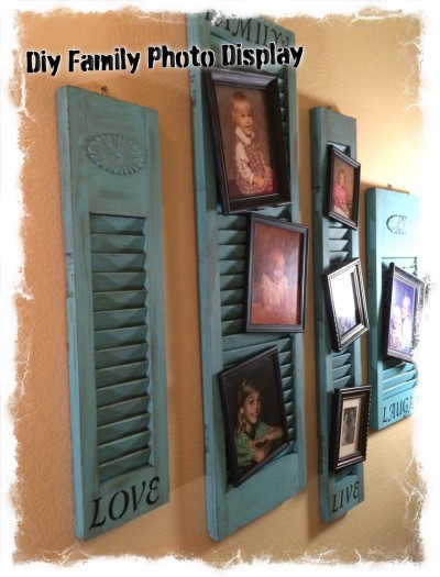 Family photo display made from old wood shutters