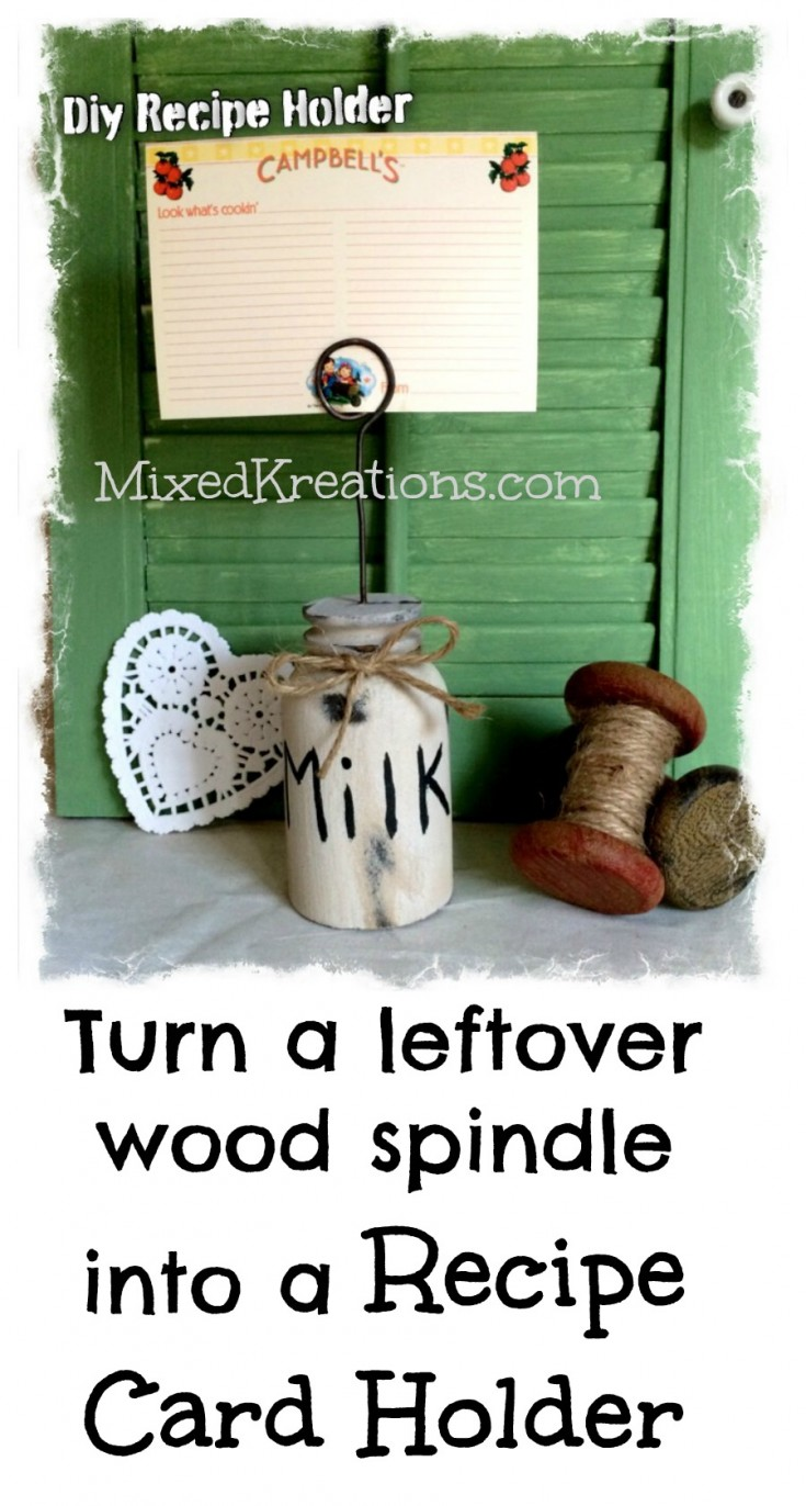 how to make a recipe card holder out of scrap spindles