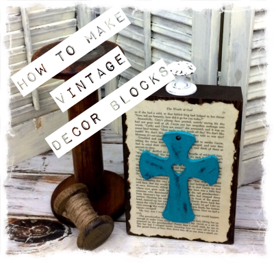 vintage book page block with cross