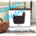 Country Chicken on Vintage Wood Block