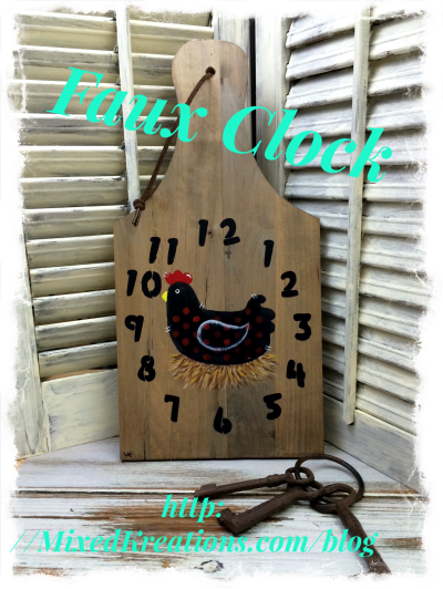 faux clock on cutting board