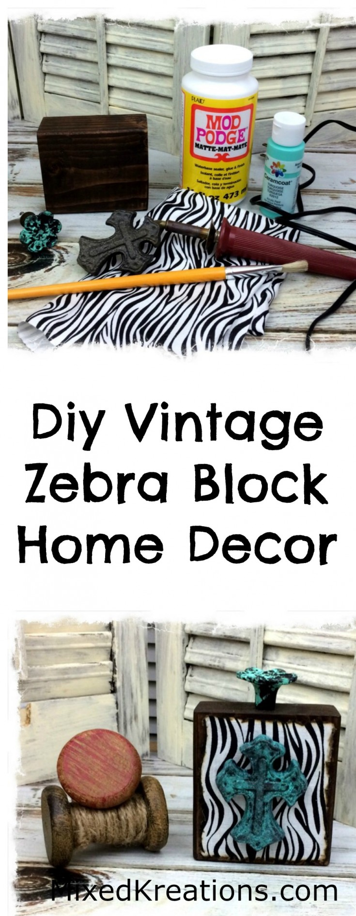 diy vintage zebra print block home decor