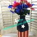 Upcycled Bottle Into Fourth Of July Vase