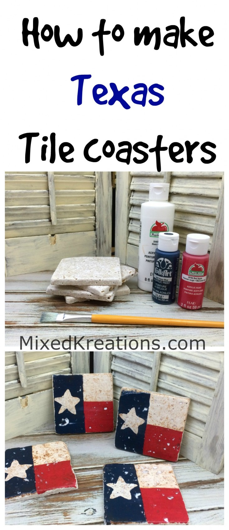 how to make Texas tile coasters | diy tile coasters | handmade coaster gift idea #Texas #TileCoasters #repurposed #GiftIdea MixedKreations.com