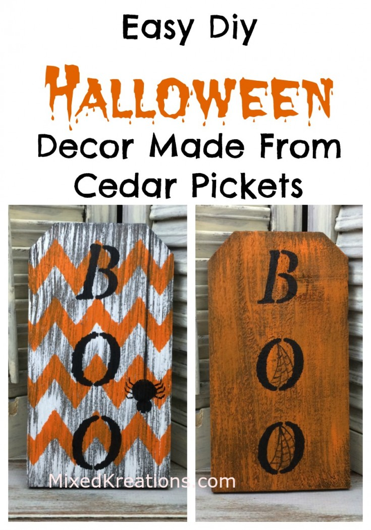 How to make some easy diy Halloween decor made from cedar pickets | easy Halloween projects #Halloween  #diy #HolidayDecor MixedKreations.com