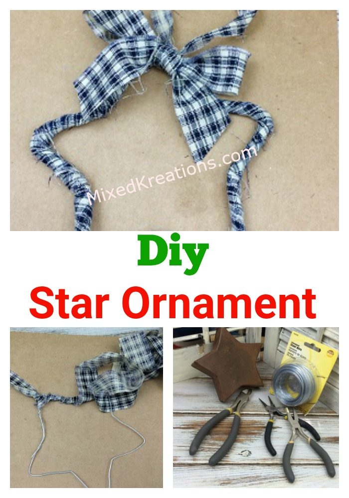 How to make a rag star ornament, diy rag star ornaments, make Christmas ornaments out of wire and scrap fabric, Christmas star ornaments MixedKreations.com