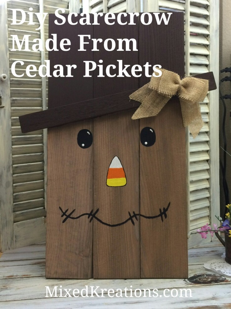 Diy fall crafts, Scarecrow Made From Cedar Pickets