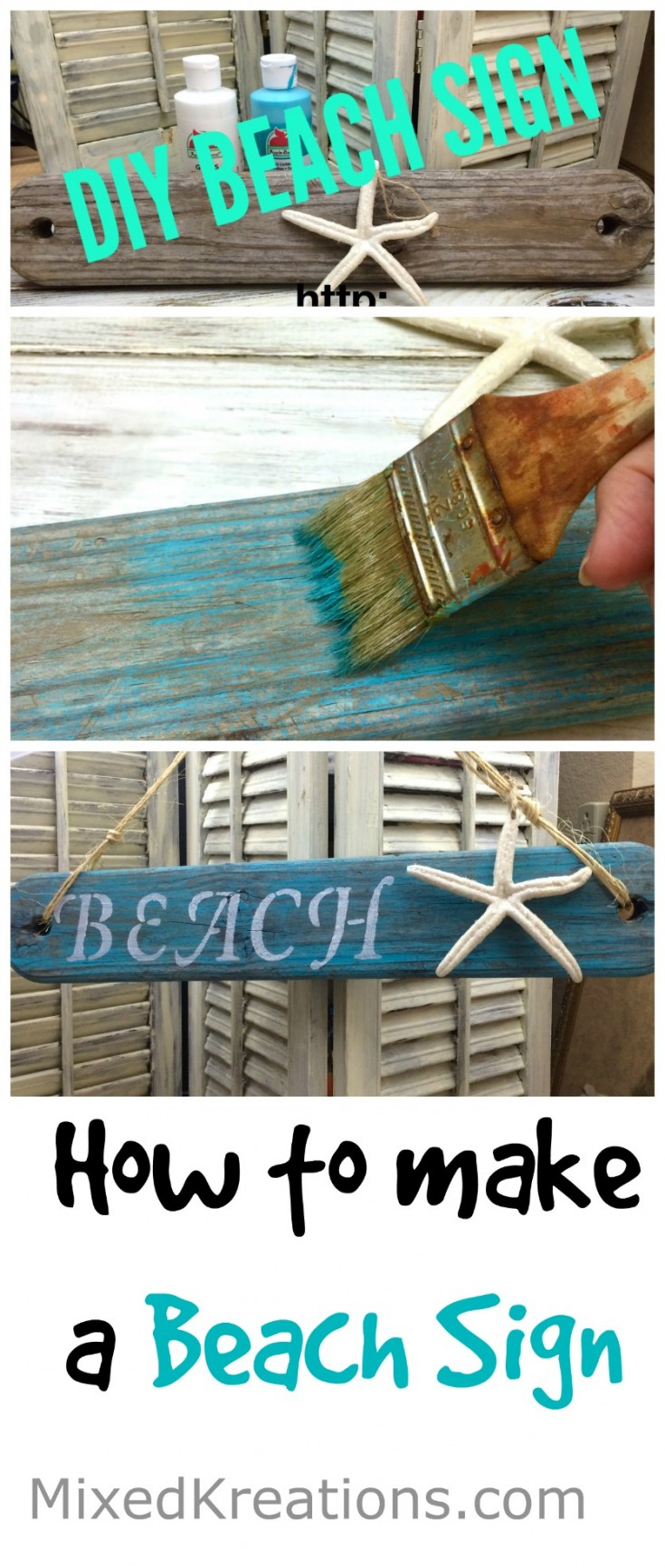 how to make a beach sign | diy beach decor | easy beach sign #BeachDecor #Beachy #BeachSign Mixedkreations.com